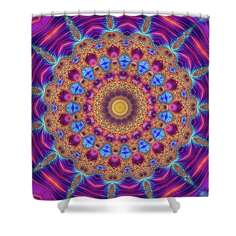 Kaleidoscope Mandala Purple Orange Blue Fractal Style - Shower Curtain