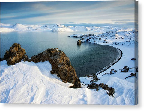 Lake Kleifarvatn Iceland In Winter - Canvas Print