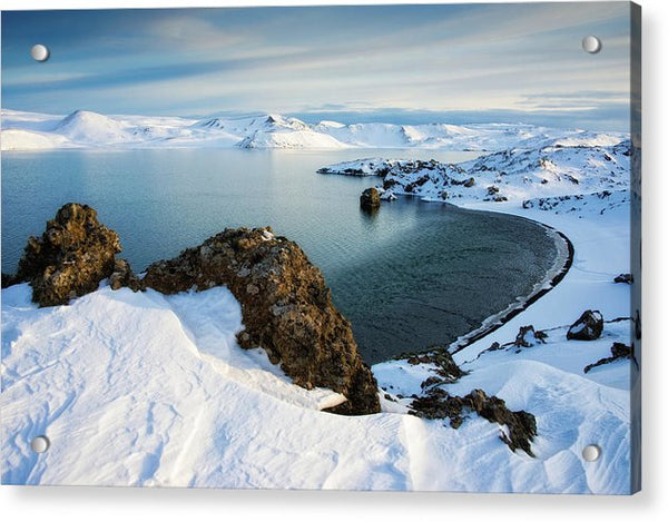 Lake Kleifarvatn Iceland In Winter - Acrylic Print