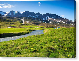 Landscape With Green Meadow River And Mountains In North Iceland - Canvas Print