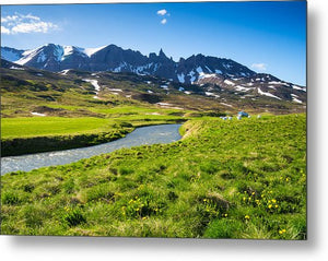 Landscape With Green Meadow River And Mountains In North Iceland - Metal Print