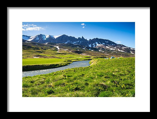 Landscape With Green Meadow River And Mountains In North Iceland - Framed Print