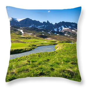 Landscape With Green Meadow River And Mountains In North Iceland - Throw Pillow