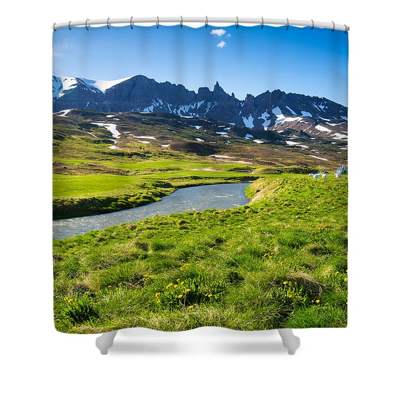 Landscape With Green Meadow River And Mountains In North Iceland - Shower Curtain