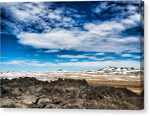 Lava Fields Mountains And Blue Sky - Welcome To Iceland - Canvas Print