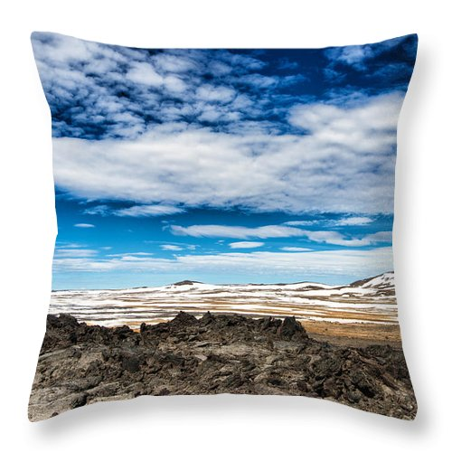 Lava Fields Mountains And Blue Sky - Welcome To Iceland - Throw Pillow