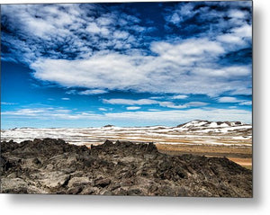 Lava Fields Mountains And Blue Sky - Welcome To Iceland - Metal Print