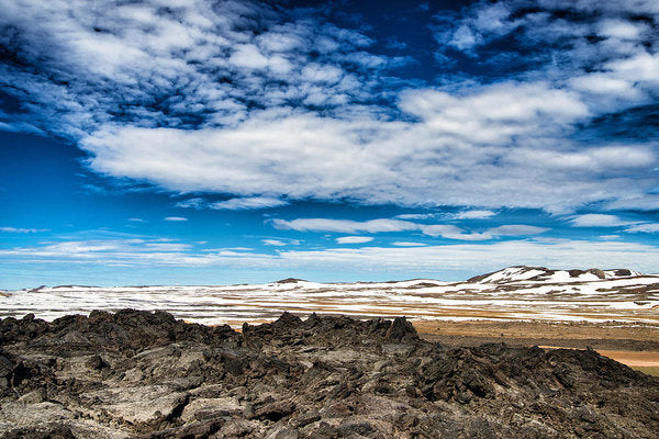 Lava Fields Mountains And Blue Sky - Welcome To Iceland - Art Print
