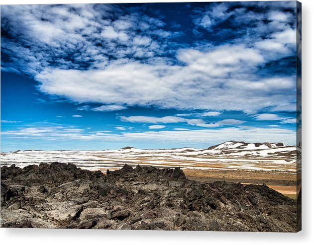 Lava Fields Mountains And Blue Sky - Welcome To Iceland - Acrylic Print