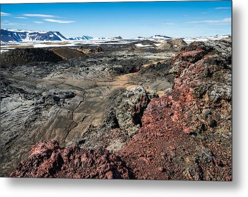Leirhnjukur Lava Field In Iceland Black Brown And Red - Metal Print