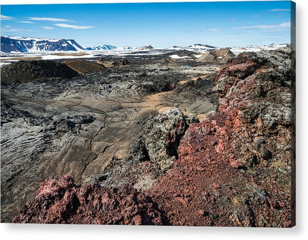 Leirhnjukur Lava Field In Iceland Black Brown And Red - Acrylic Print