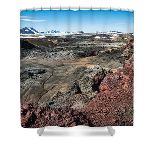 Leirhnjukur Lava Field In Iceland Black Brown And Red - Shower Curtain