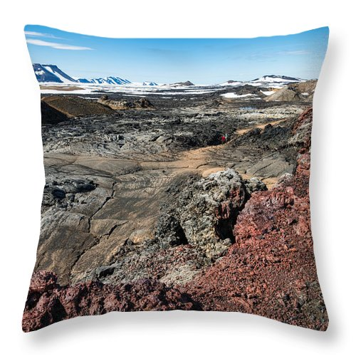 Leirhnjukur Lava Field In Iceland Black Brown And Red - Throw Pillow