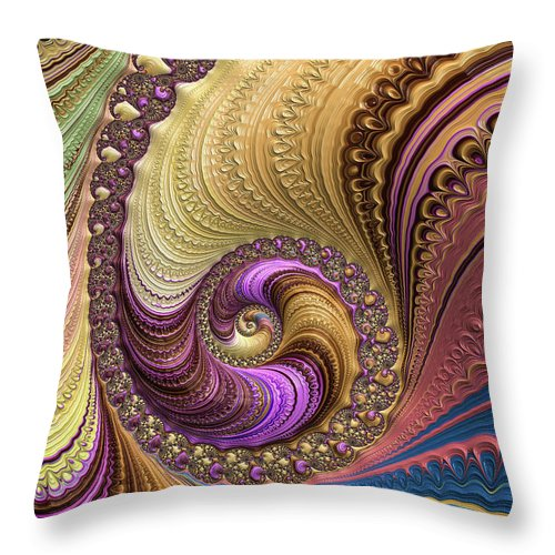Luxe Colorful Fractal Spiral - Throw Pillow
