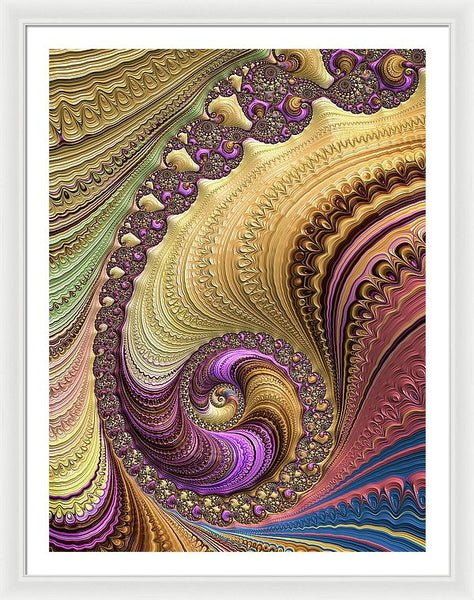 Luxe Colorful Fractal Spiral - Framed Print