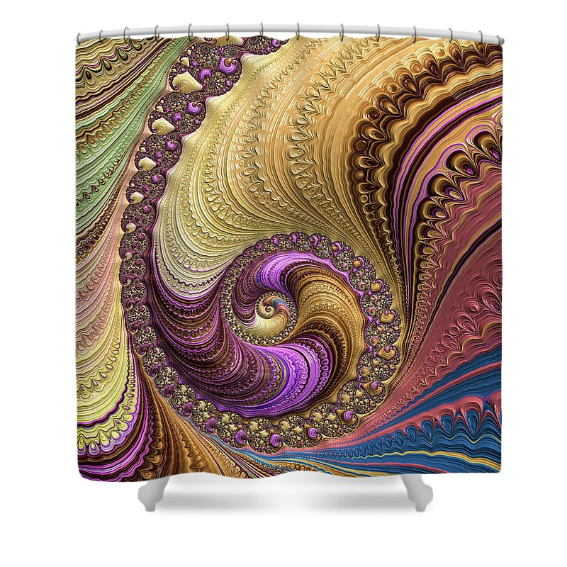 Luxe Colorful Fractal Spiral - Shower Curtain