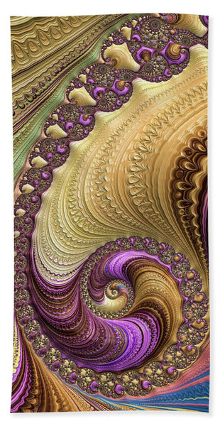 Luxe Colorful Fractal Spiral - Beach Towel