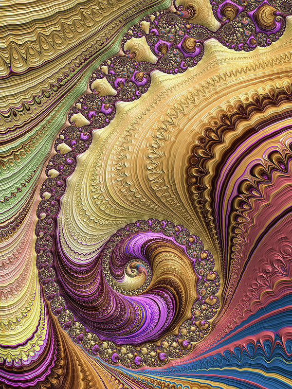 Luxe Colorful Fractal Spiral - Art Print