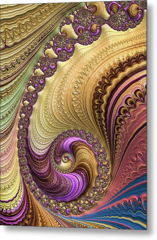 Luxe Colorful Fractal Spiral - Metal Print