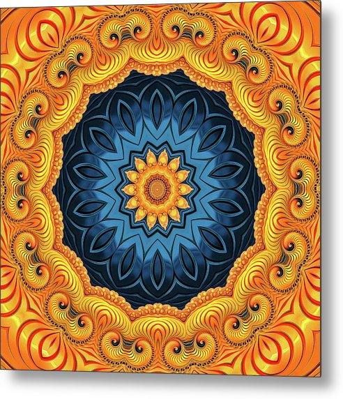 Mandala Art Golden And Blue - Metal Print