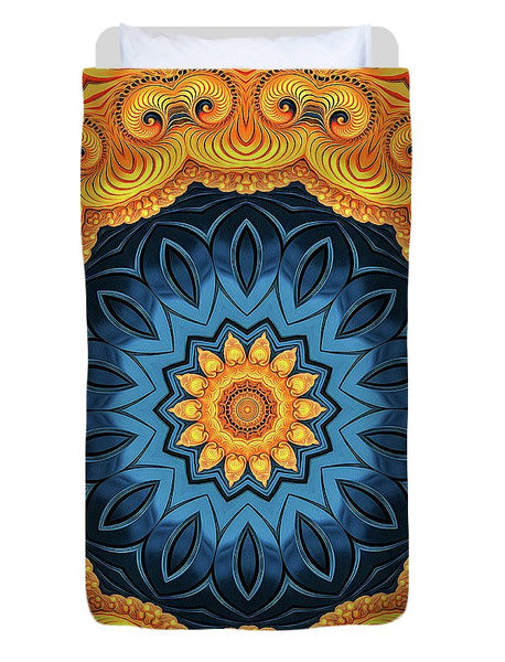 Mandala Art Golden And Blue - Duvet Cover