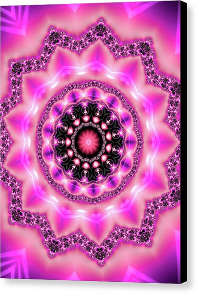 Mandala Art Pink Purple Black - Canvas Print
