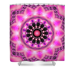 Mandala Art Pink Purple Black - Shower Curtain