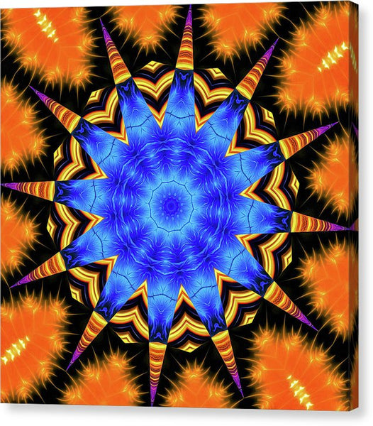 Mandala Kaleidoscope Art Orange And Blue Fractal Style - Canvas Print