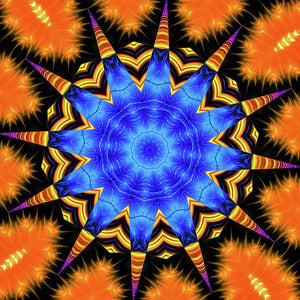 Mandala Kaleidoscope Art Orange And Blue Fractal Style - Art Print