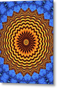 Mandala Kaleidoscope Golden And Blue Fractal Style - Metal Print
