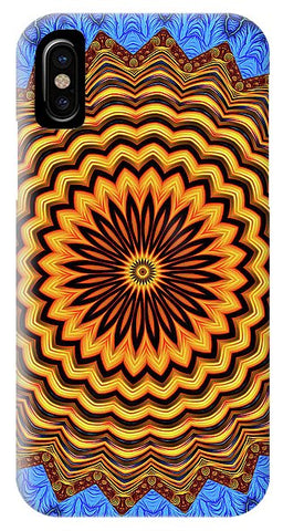 Mandala Kaleidoscope Golden And Blue Fractal Style - Phone Case
