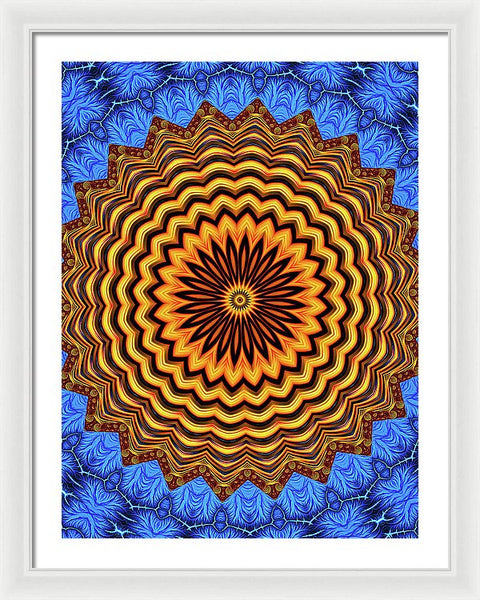 Mandala Kaleidoscope Golden And Blue Fractal Style - Framed Print
