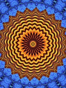 Mandala Kaleidoscope Golden And Blue Fractal Style - Art Print