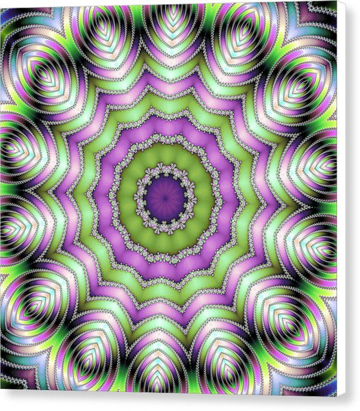 Mandala Op Art Purple And Green - Canvas Print
