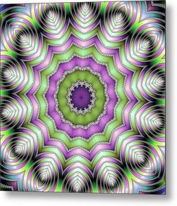 Mandala Op Art Purple And Green - Metal Print