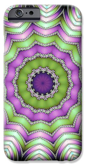 Mandala Op Art Purple And Green - Phone Case