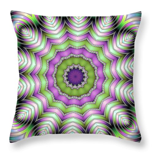 Mandala Op Art Purple And Green - Throw Pillow