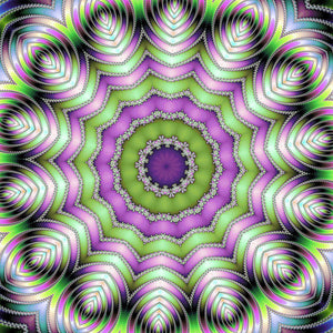 Mandala Op Art Purple And Green - Art Print