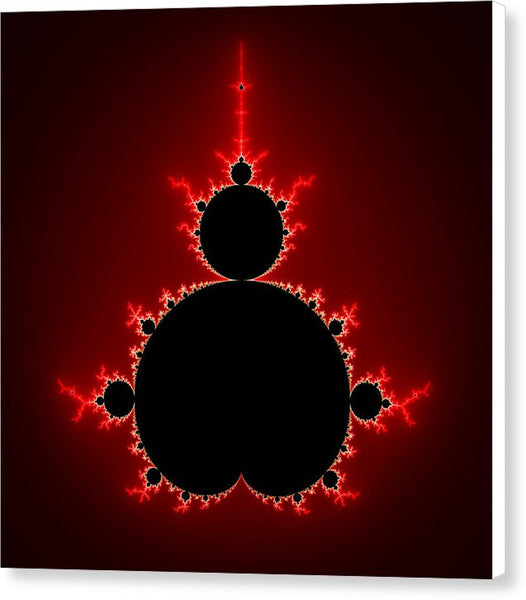 Mandelbrot Set Black And Red Square Format - Canvas Print