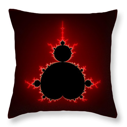 Mandelbrot Set Black And Red Square Format - Throw Pillow