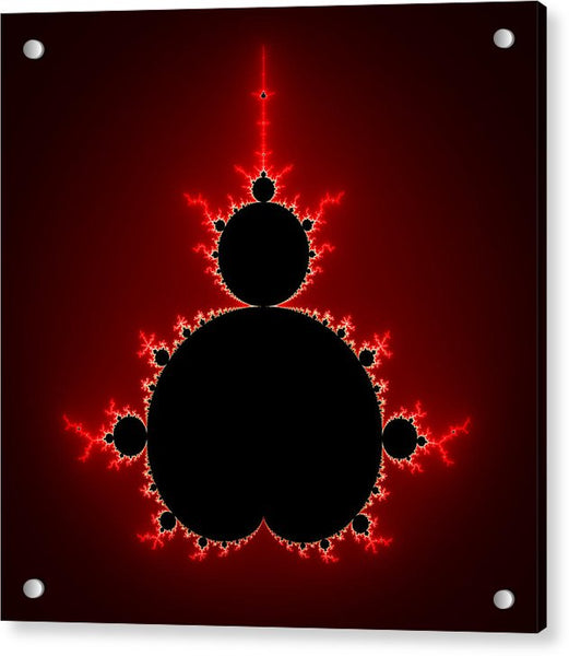 Mandelbrot Set Black And Red Square Format - Acrylic Print