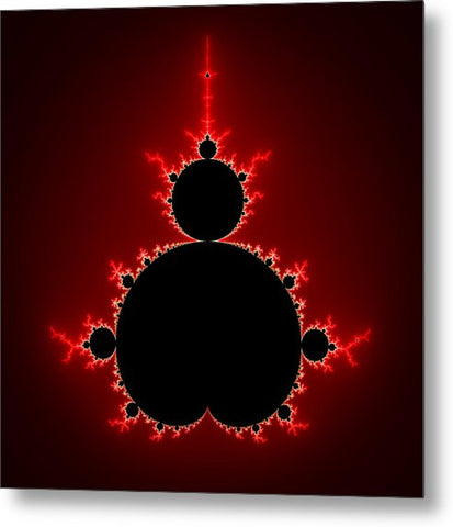 Mandelbrot Set Black And Red Square Format - Metal Print