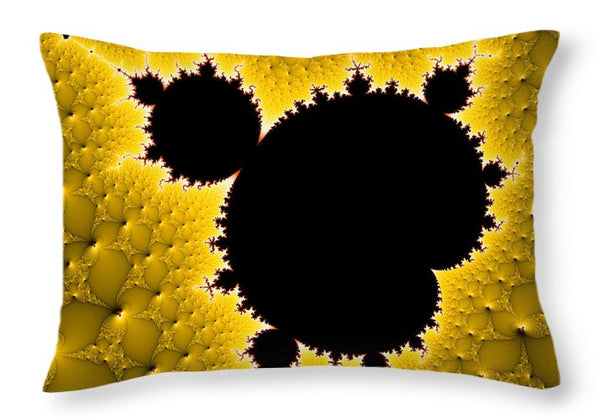 Mandelbrot Set Black And Yellow Fractal Art - Throw Pillow