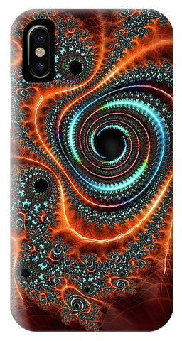 Modern Abstract Fractal Art Orange Cyan - Phone Case