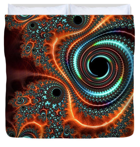 Modern Abstract Fractal Art Orange Cyan - Duvet Cover
