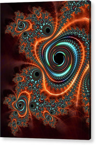Modern Abstract Fractal Art Orange Cyan - Acrylic Print