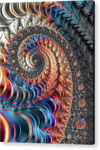 Modern Fractal Spiral With Blue And Red Metal Tones - Acrylic Print