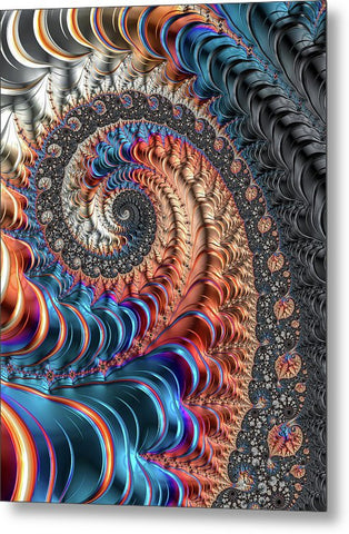 Modern Fractal Spiral With Blue And Red Metal Tones - Metal Print