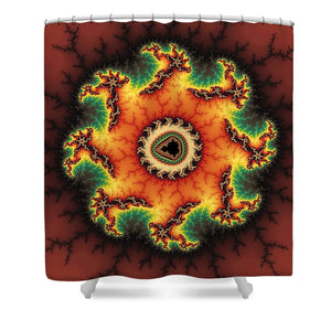Orange Green And Yellow Fractal Artwork - Shower Curtain