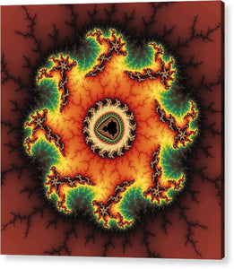 Orange Green And Yellow Fractal Artwork - Acrylic Print
